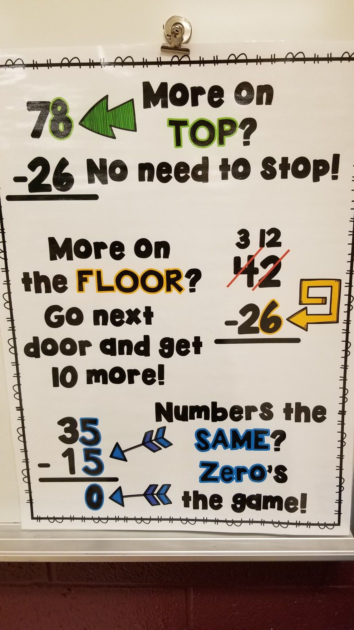 Math Rhyme For Subtracting