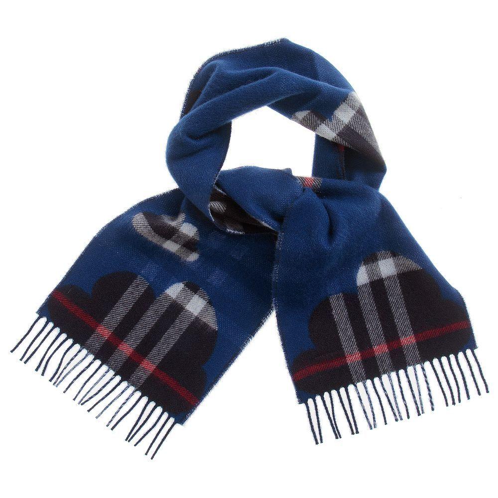 dda1566938 Burberry blue checked cashmere scarf available  Childrensalon.  Burberry   Girl  Boy  Scarf  Check  Fall