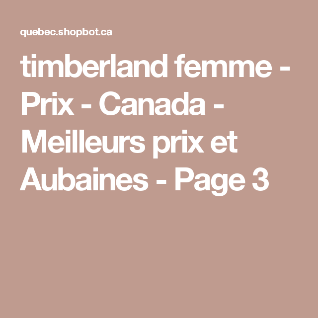 prix des timberland au canada
