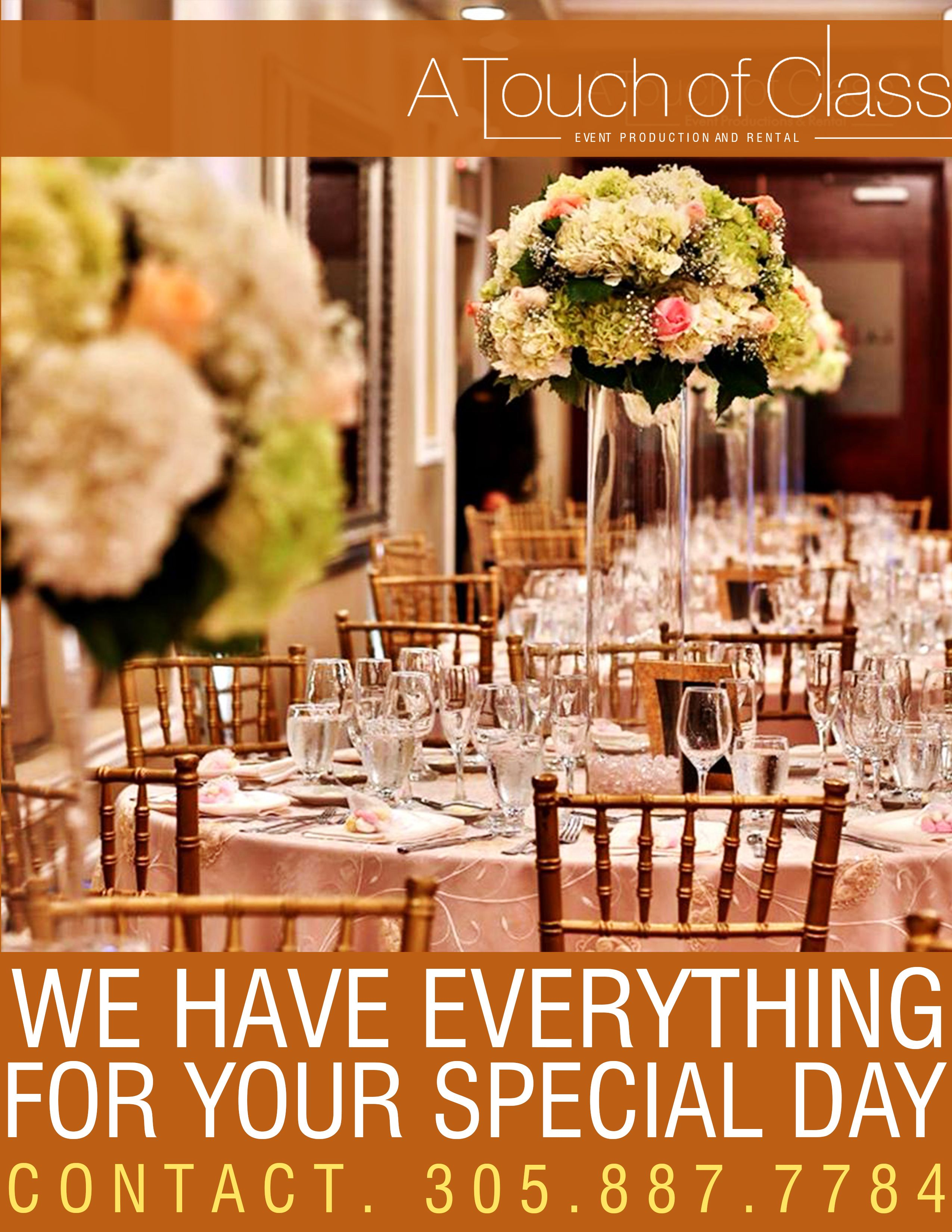 Luxury Event Rentals in Miami by A Touch Of Class. Call us now for more information (305) 887-7784 or visit our site   #atouchofclass #atclinen #SweetWeddingMoments #WeddingInspiration #WeddingCake #WeddingIdeas #WeddingReception #Romance #BridalFashionWeek #BeautifulBride #WeddingSeason #Glam #DestinationWedding #WeddingPlanning #LuxuryWeddings #IDo #Bridesmaid