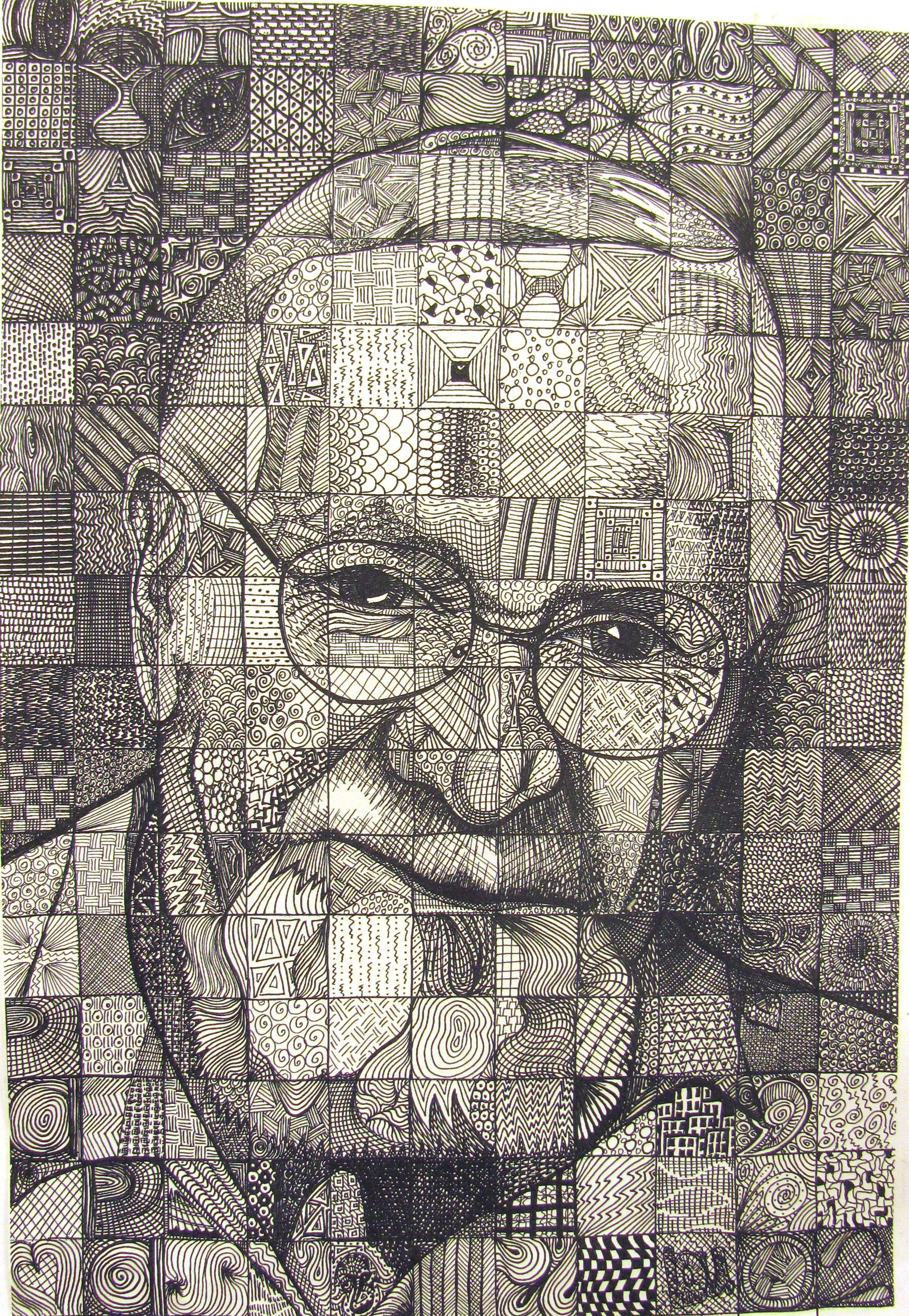 Papa Bylou Traylor Example Of Grid Drawing Using Pattern