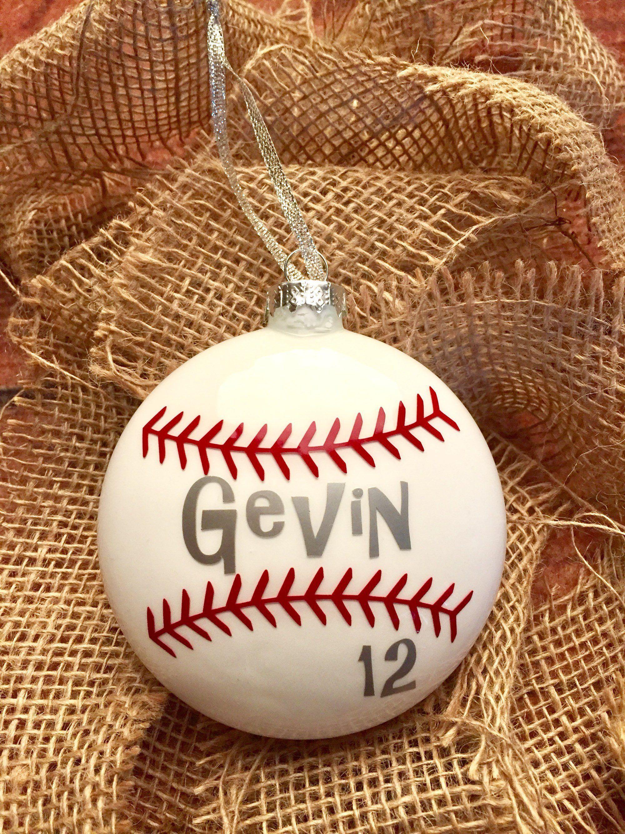 Personalized Baseball Ornament Etsy Baseball Ornaments Christmas Ornaments Homemade Christmas Ornament Crafts