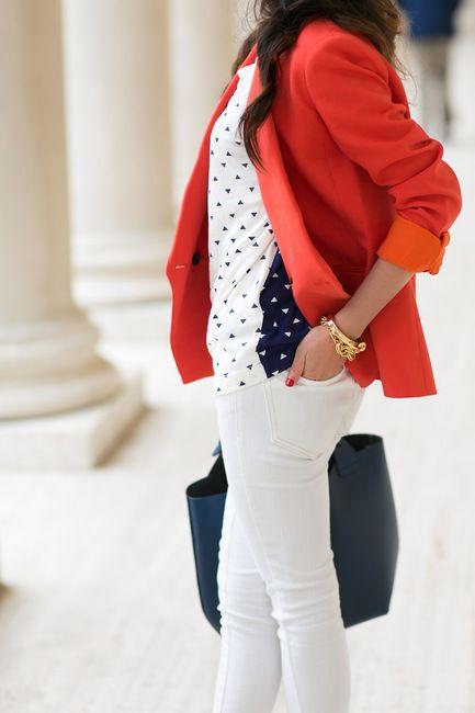 Tangerine :: Tailored blazer & Spring white : Wendy's Lookbook
