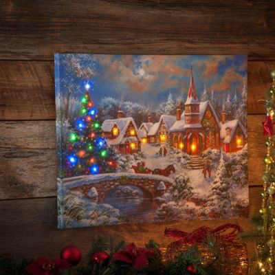 Christmas Led Canvas.Product Details Christmas Eve Town Led Canvas Art Print