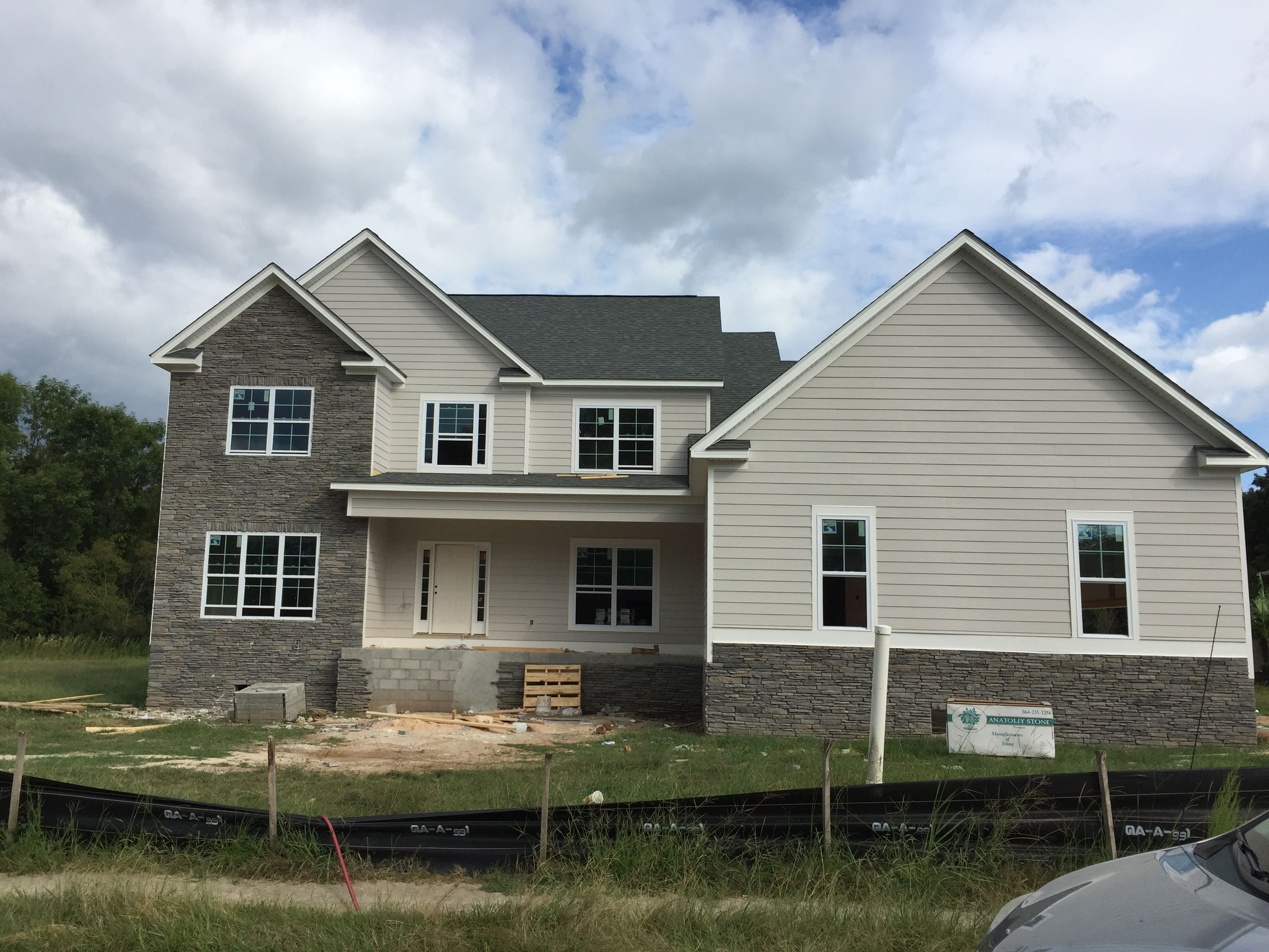 New House Is Coming Along. Sherwin Williams Alpaca With Gray Southeastern  Ledgestone