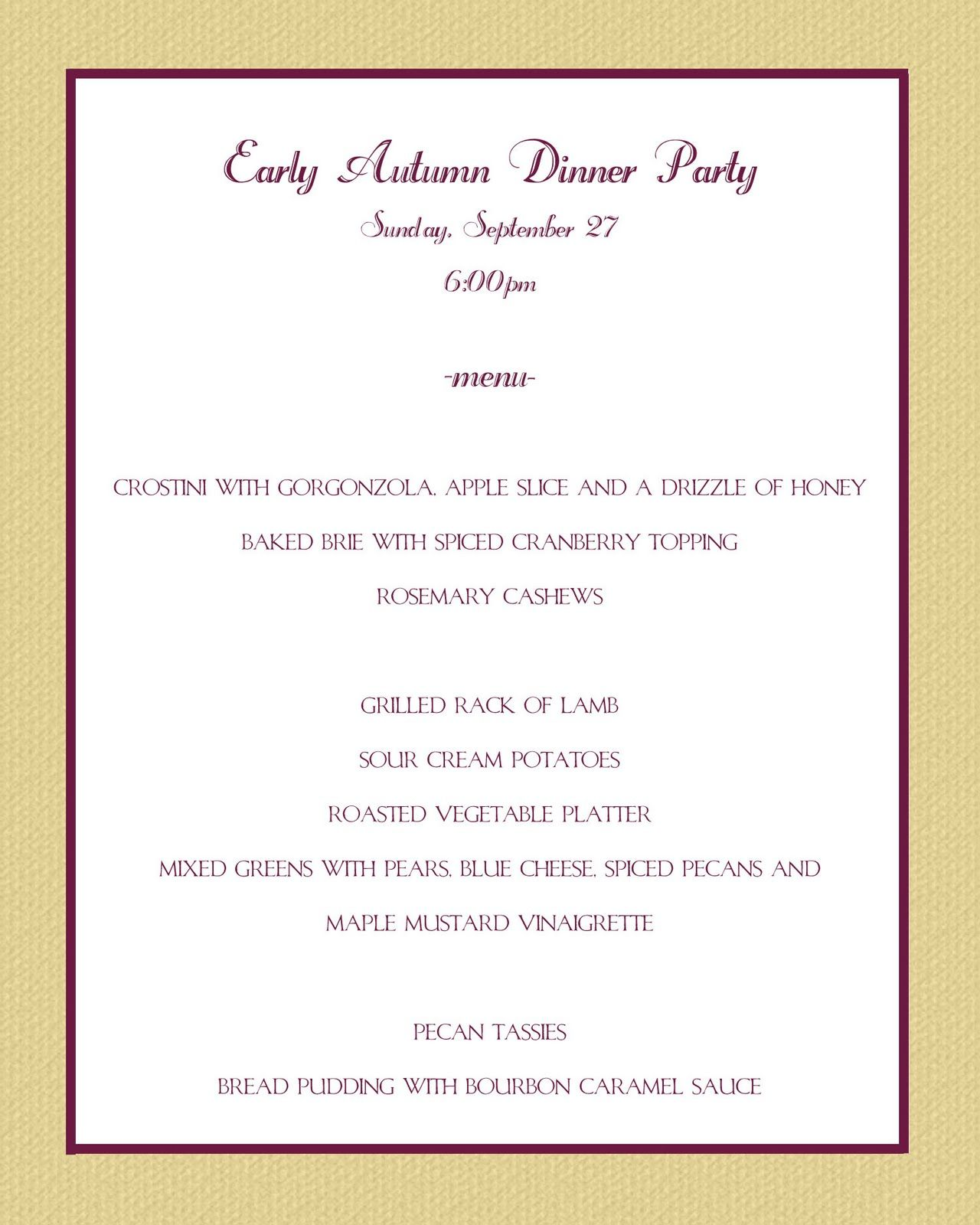 50th birthday party dinner menu ideas casual party menu for Ideas for dinner menu