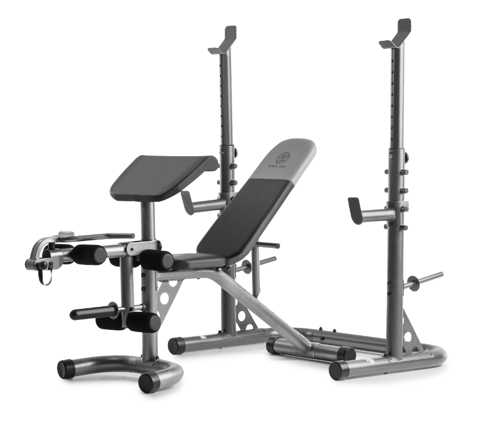 Gold S Gym Xrs 20 Adjustable Olympic Workout Bench With Squat Rack Leg Extension Preacher Curl And Weight Storage Walmart Com Squat Rack Weight Benches Adjustable Weight Bench