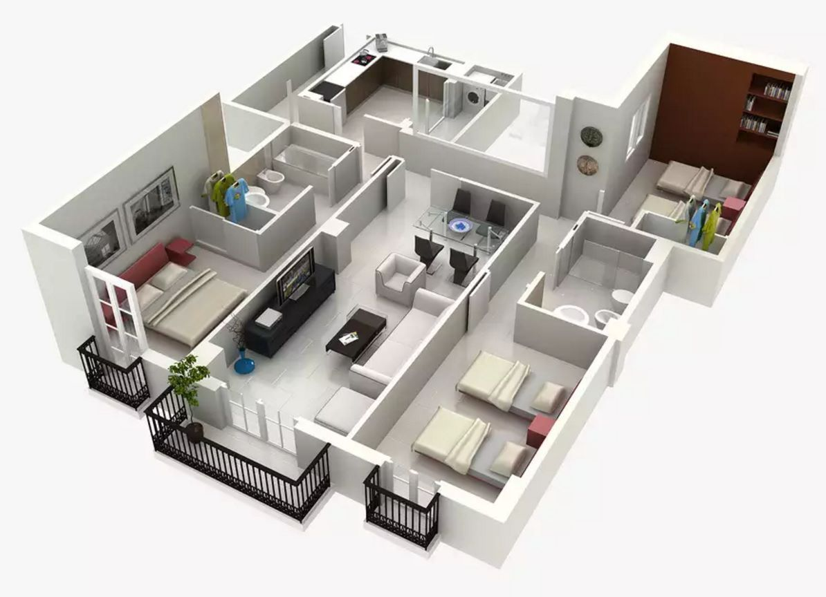 Plano de departamento de 3 habitaciones en 3d planos for Casas 3d