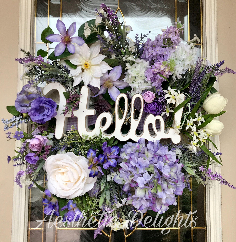 Photo of Purple Hello Wreath- Vintage Complementary Wreath- Spring  Wreath-  Front Door Wreath- Floral Wreath- Mantel Wreath-
