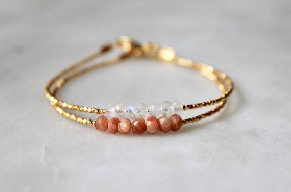 Bracelet with Sunstone /& Moonstone and gold filled elements