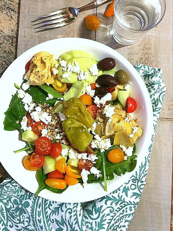 So easy, healthy, and delicious! DIY Greek Salad Bowl w/ Avocado Tzatziki {Gluten-Free, Vegetarian, Vegan and low FODMAP options} + California Avocados 101 #sponsoredtrip #recipe