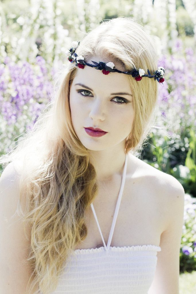 Red, Black and White Rose Flower Crown, Bridal Flower Headpiece, Flora – Beauxoxo- Handmade, Hair Accessories