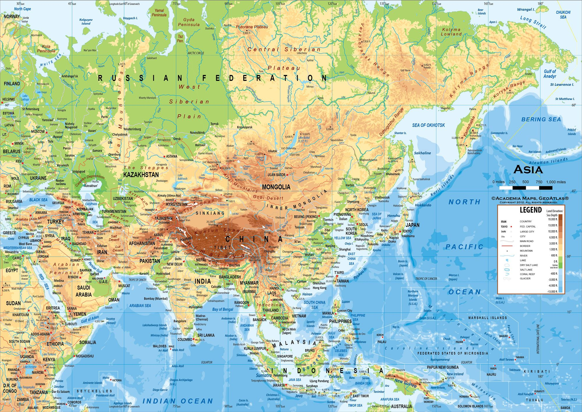 Physical Map Of Asia With Labels.Physical Map Of East Asia Worldwide Maps Collection Free