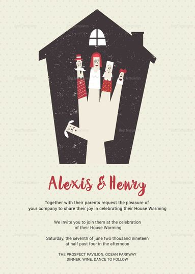 Thrilling Housewarming Invitation Card Template Pinterest