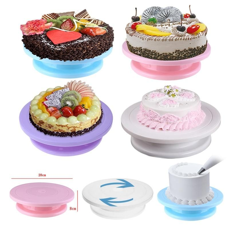 28cm plastic cake turntable cake stand rotating cake