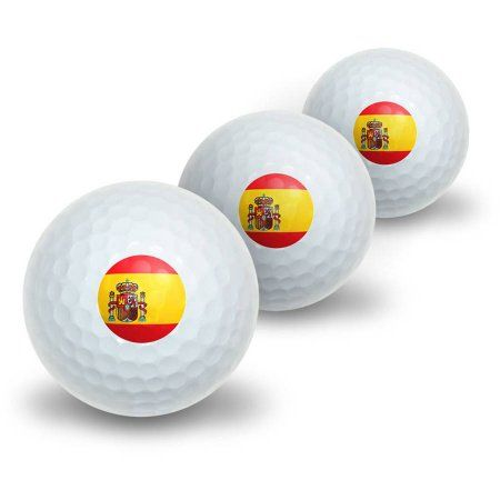 Spanish Flag Novelty Golf Balls, 3pk, White