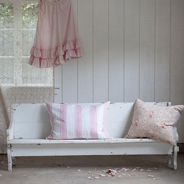 Pretty church pew as a bench in a front hall (or any hall, really... ; )