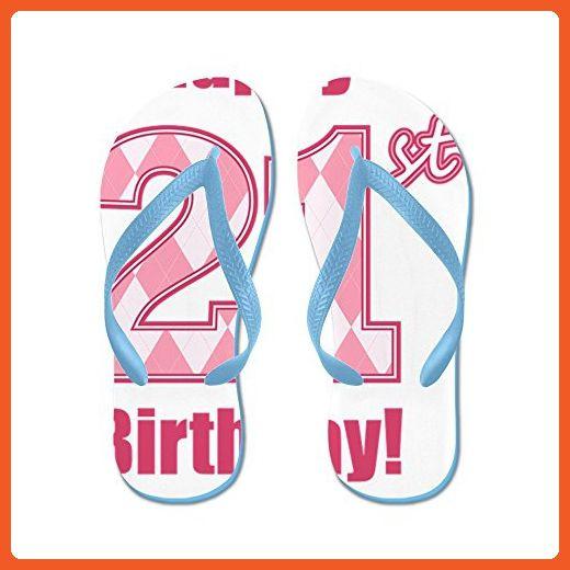 85372878adc6 CafePress - Happy 21St Birthday - Pink Argyle - Flip Flops