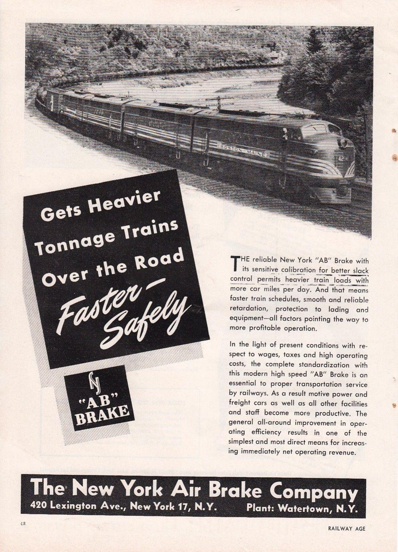 1949 Nyab New York Air Brake Co Ad B&M Boston & Maine