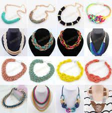 Fashion Charm Jewelry Chain Crystal Choker Chunky Statement Bib Knit Necklace