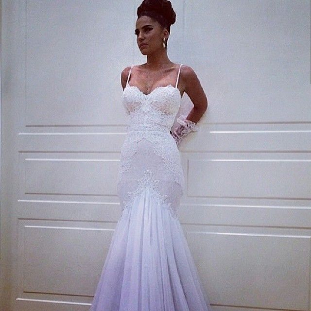 Ed Bodice Thin Spagetti Straps Sweetheart Neckline Clinched Natural Waistline Trumpet Style Wedding Dress Fit And Flare Into Tulle Skirt Above The Knees