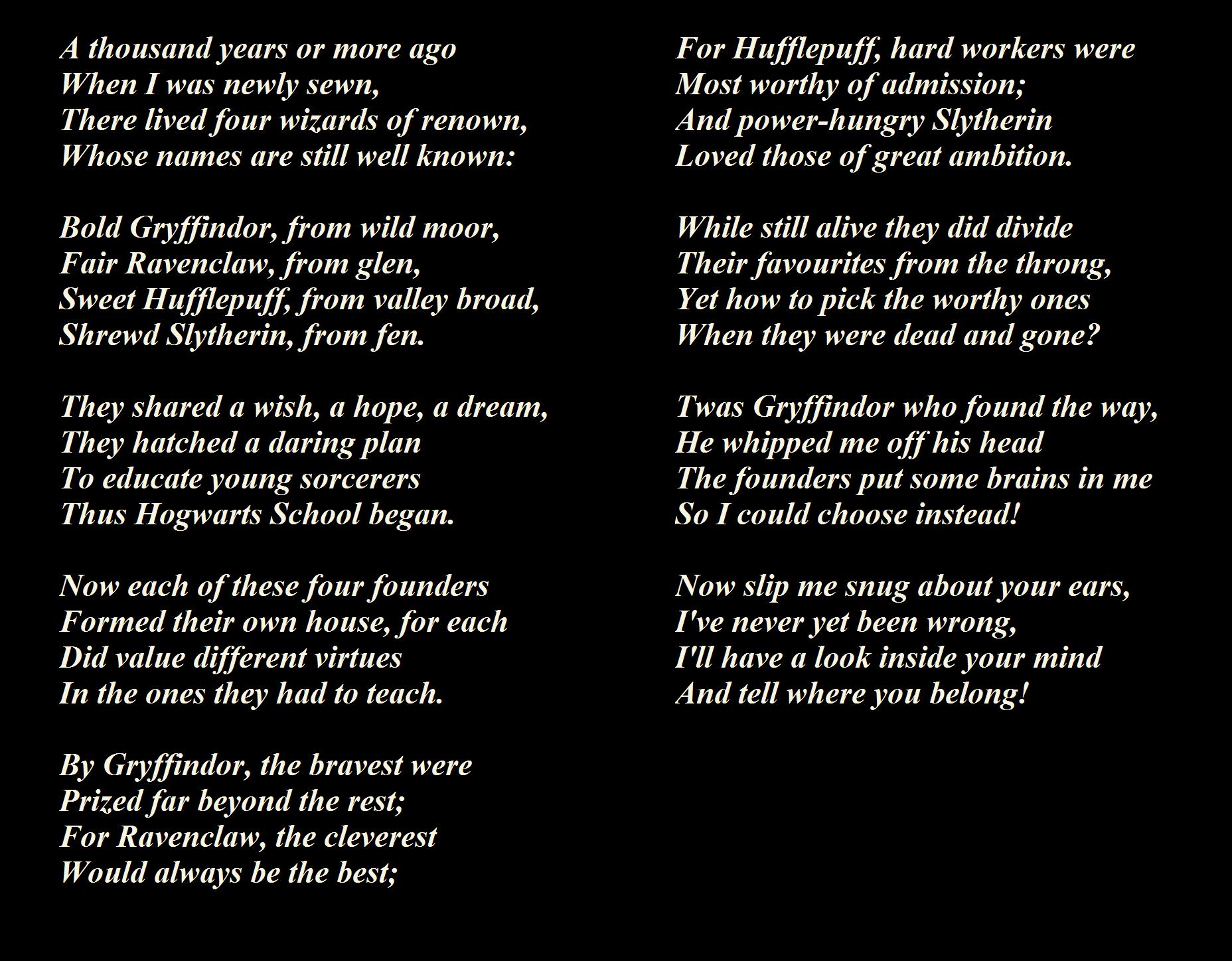 sorting hat songs lyrics - Google Search | wizard world