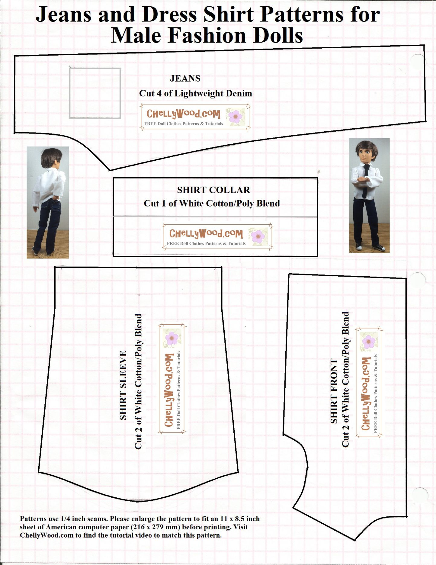 Image of printable sewing pattern for male fashion doll clothes ...