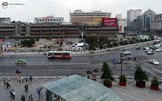 Traffic in the center of Xi'an, China.