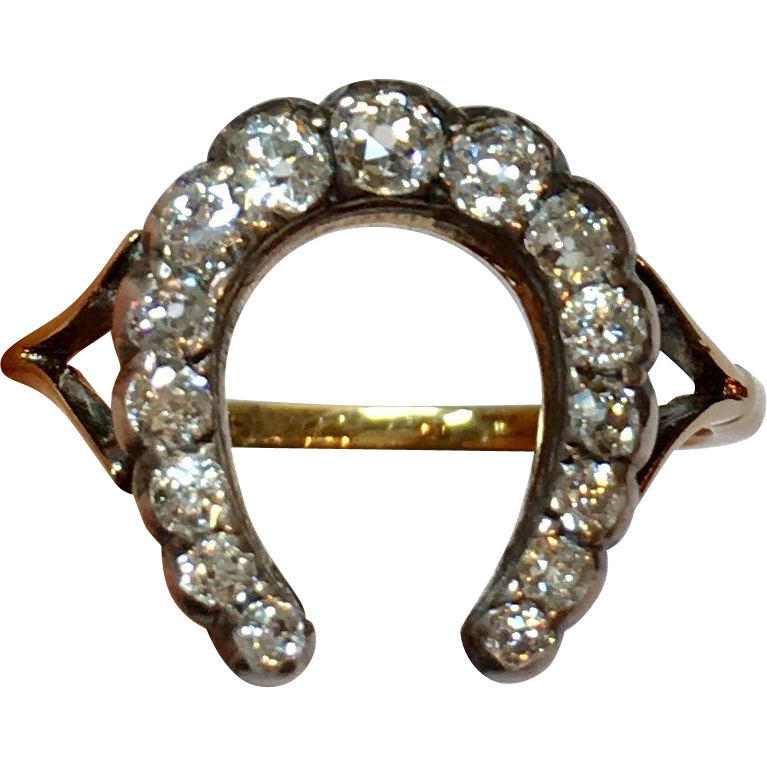 39b8b3461d2e2 Reserved** Victorian Diamond and 18K Gold Lucky Horseshoe Ring in ...