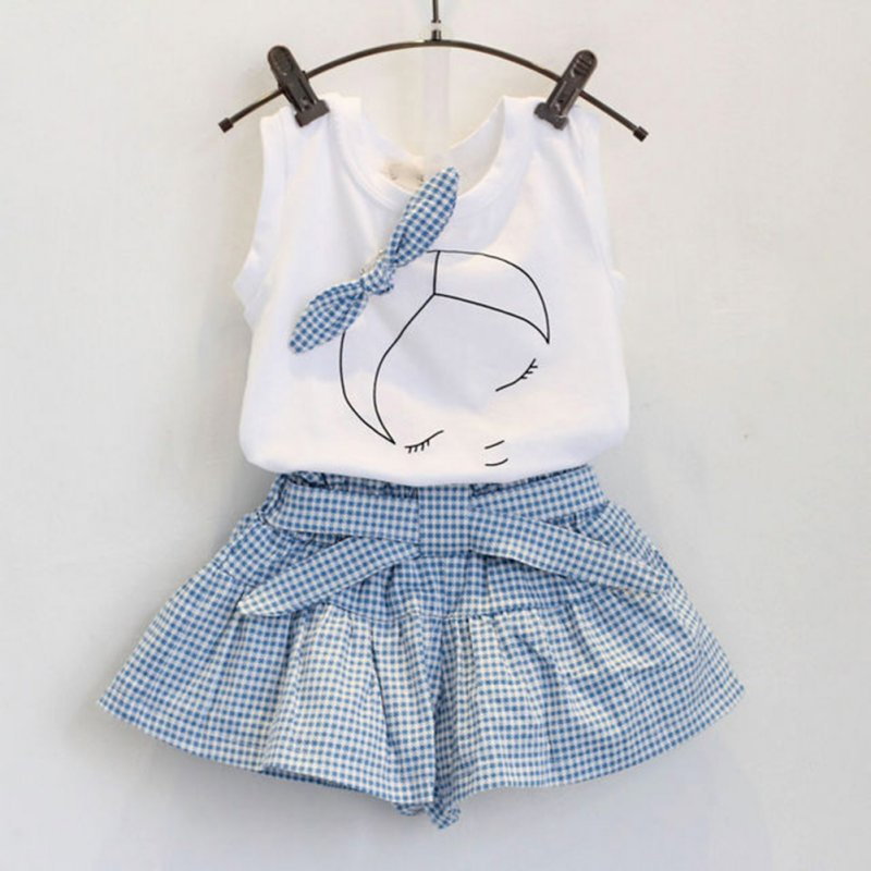 Baby Girls Summer Clothes Set Toddler Printing Ruffle Vest Top Short Culotte Pant 2pcs Infant Kids Clothing Outfits
