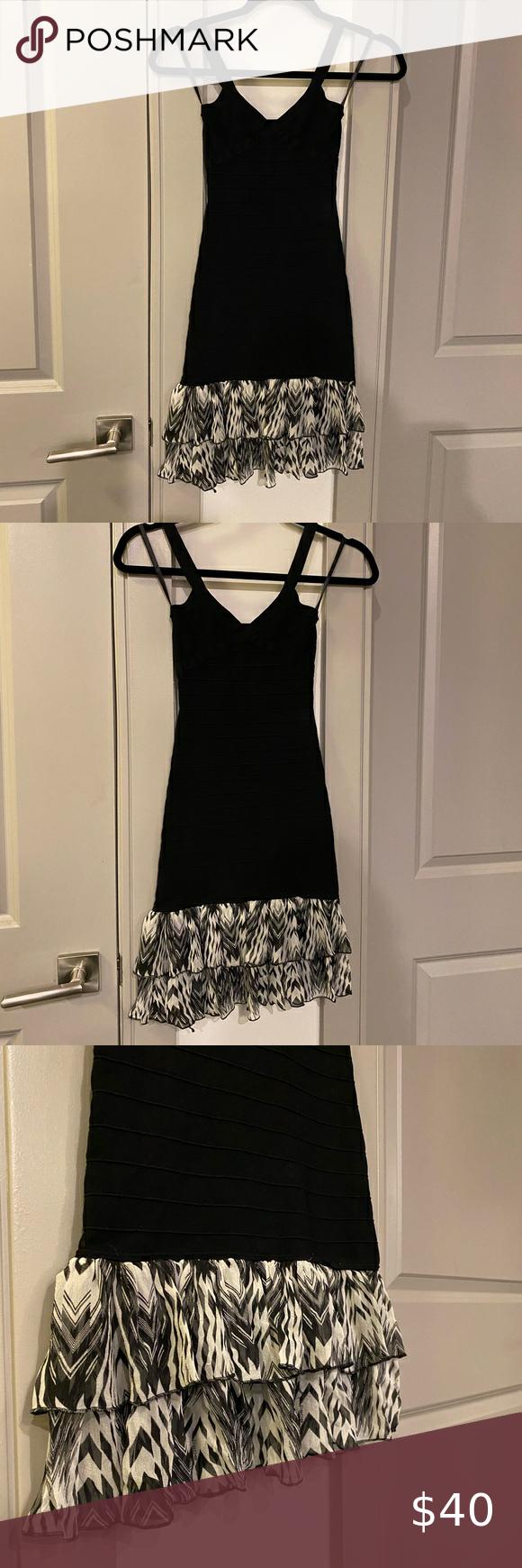 Bebe Bodycon Dress With Ruffle Base Bodycon Dress Dresses Black Bodycon Dress [ 1740 x 580 Pixel ]