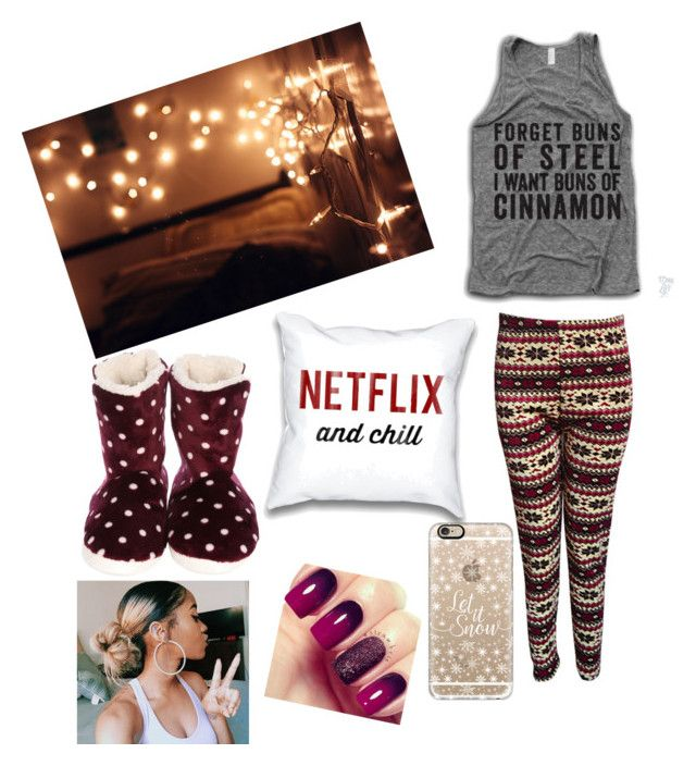 """""""Lazy Night Collection"""" by im-love-with-the-cocoa-channel on Polyvore featuring Casetify, lazy, burgandy, graphictee, netflix and winterleggins"""