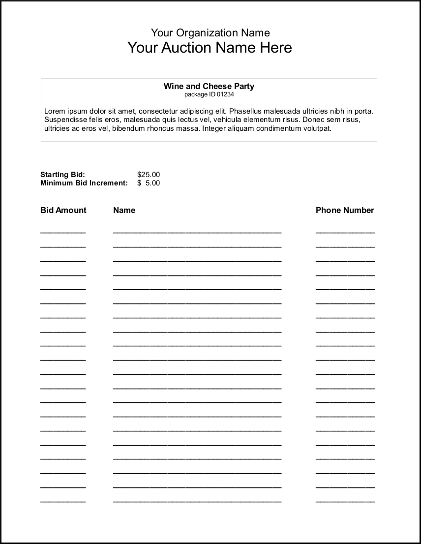 Sample Bid Sheet Silent Auction Bid Sheets  Party Planning