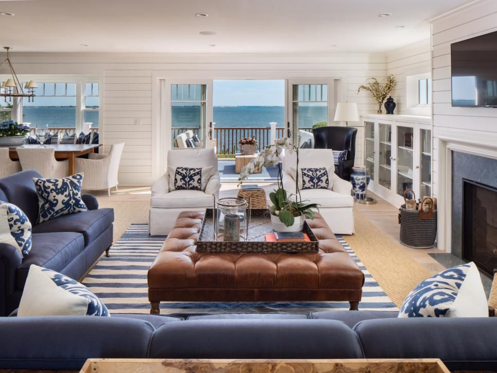 Best Blue And White Coastal Living Room With Leather Ottoman In 400 x 300