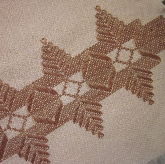 Vintage Tea Towel Pink and Brown Huck Embroidery by SimplySuzula ...