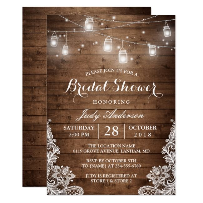 3a6888692ba5 Mason Jars Lights Rustic Wood Lace Bridal Shower Invitation Wood Rustic  Bridal Lace