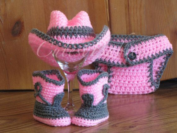Baby Crochet Cowboy Cowgirl Costume Hat Boots Diaper Cover Photo