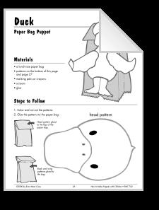 Paper Bag Puppet Duck Template 5 Little Ducks