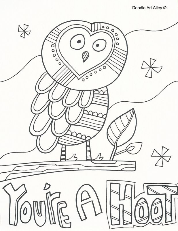 Free printable coloring pages youre a hoot page