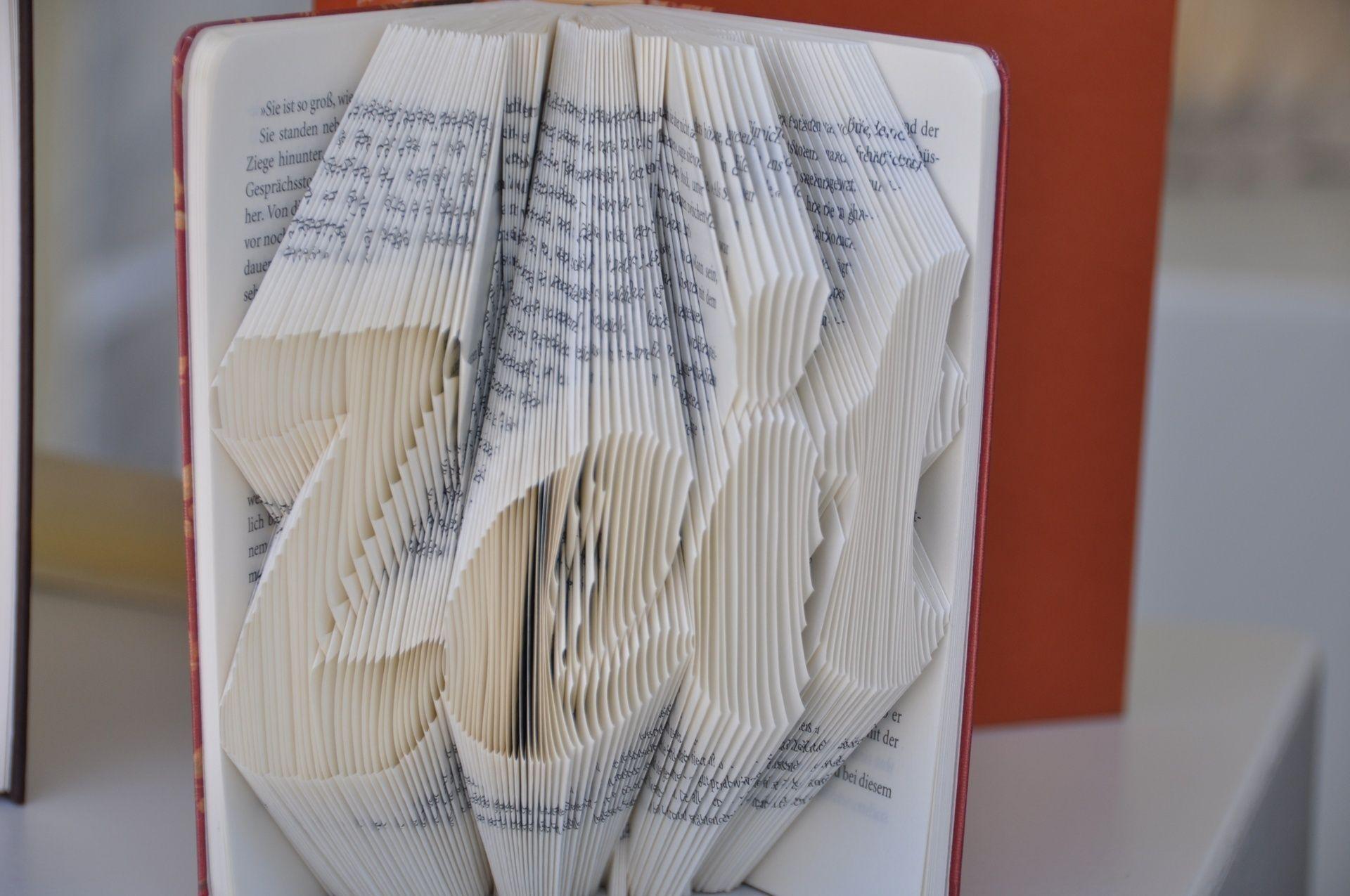 """Der Schriftzug """"Zeit"""" wurde hier in ein kleines Fischer Taschenbibliothek Buch gefaltet."""