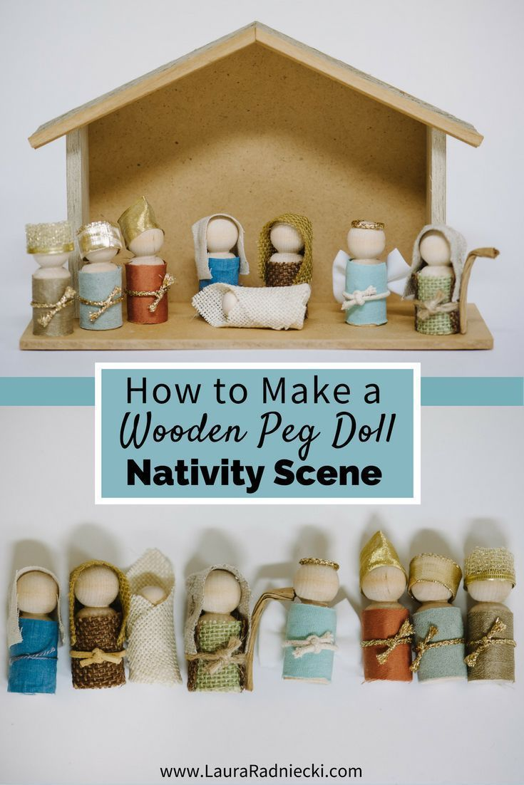 Nichts geht verbleibend eine hölzerne Peg-Puppen-Krippe zur Weihnachtszeit. Ein #dollmaking