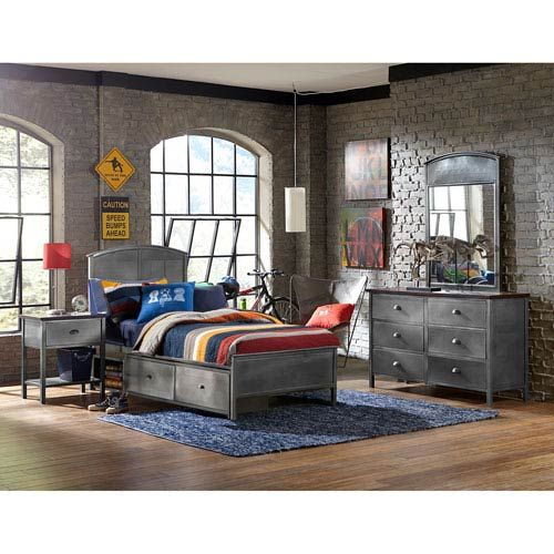 Hillsdale Furniture 1265BFRPS4 Urban Quarters 4-Piece Set w/ Panel Full Storage Bed in Black Steel, Transitional | Bellacor