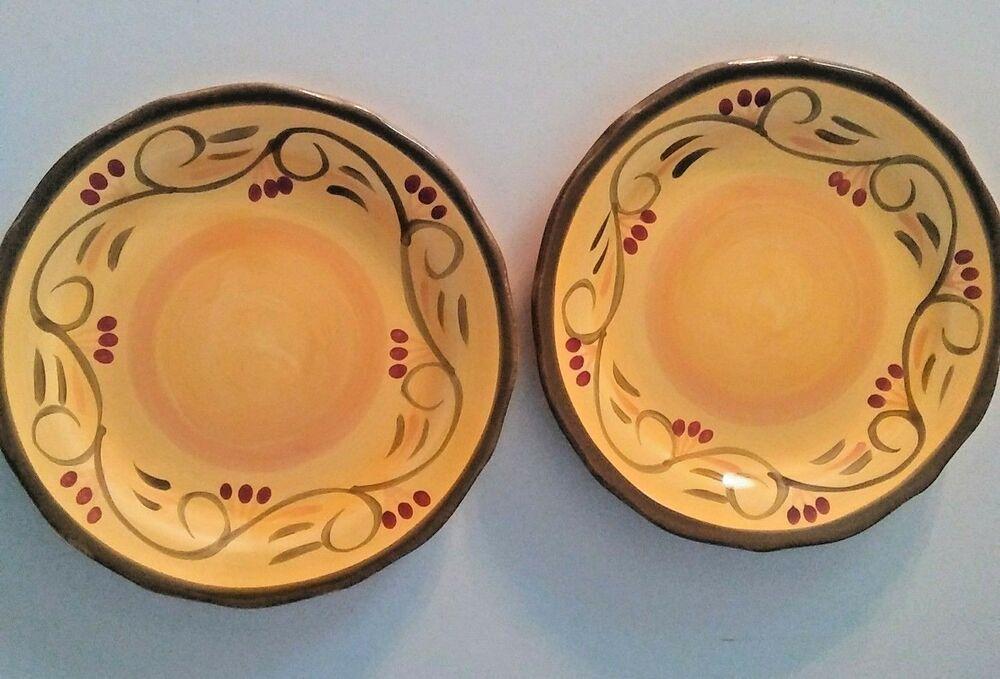 Salad Plate Set Of 2 Ceramic Yellow Round Italian Villa Home Trends Hometrends Plates Plate Sets Yellow Ceramics