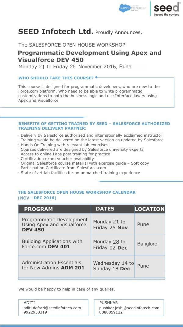 Programmatic Development Using Apex and Visualforce DEV450 Workshops - copy business blueprint workshop