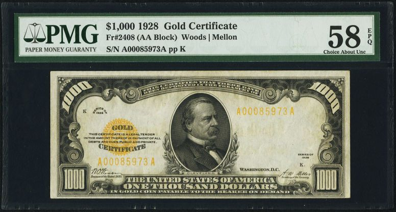 Small Sizegold Certificates Fr 2408 1000 1928 Gold Certificate