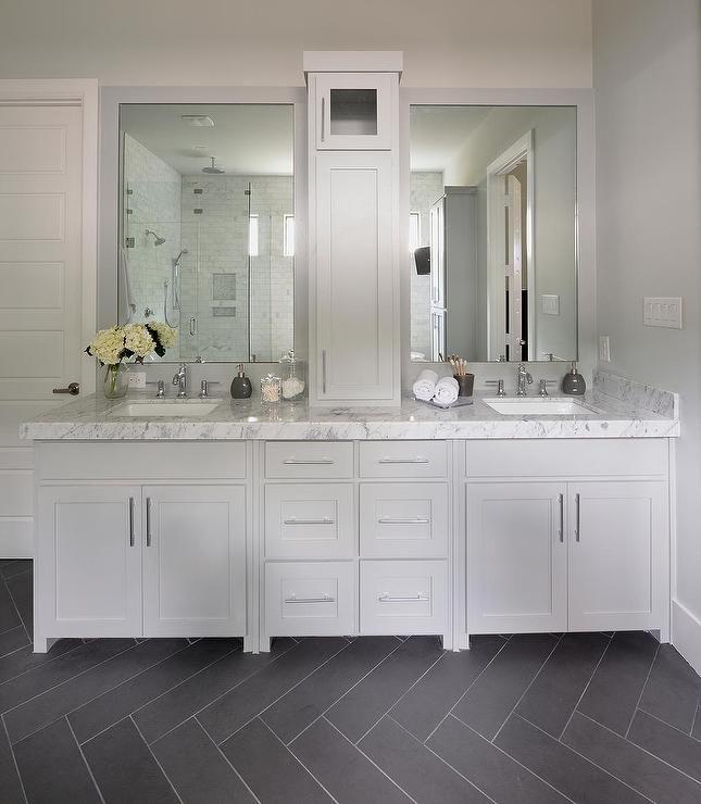 Photo of Gray Bathroom with Slate Herringbone Tiled Floor, Transitional, Bathroom