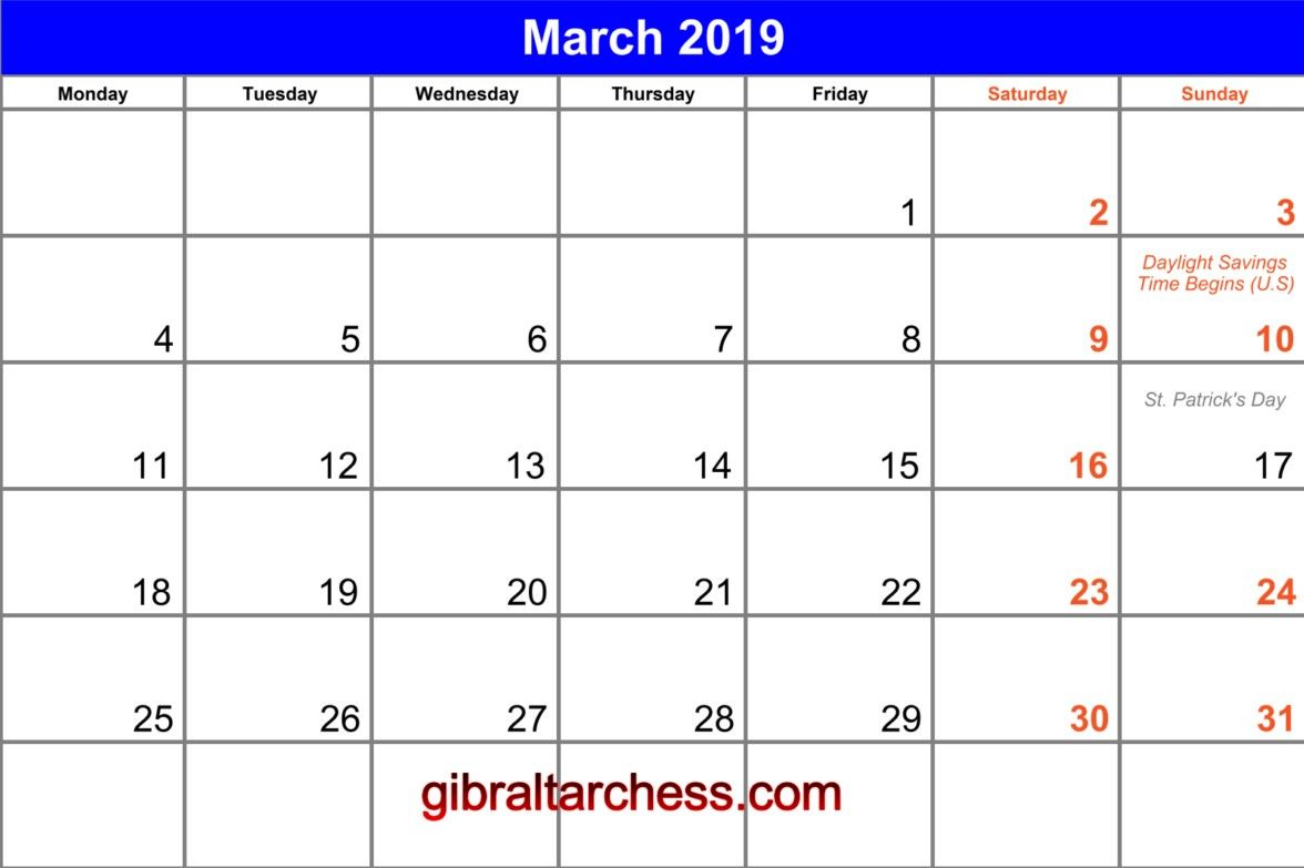 March Calendar Template Many Color