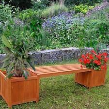 Banco De Jardín Con 2 Cajas De Flores De Madera Para Jardín