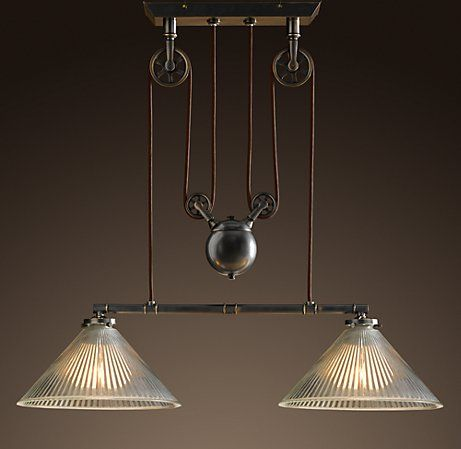 Pulley with counter weight for pendant lights different shades industrial pulley double pendant mozeypictures Image collections