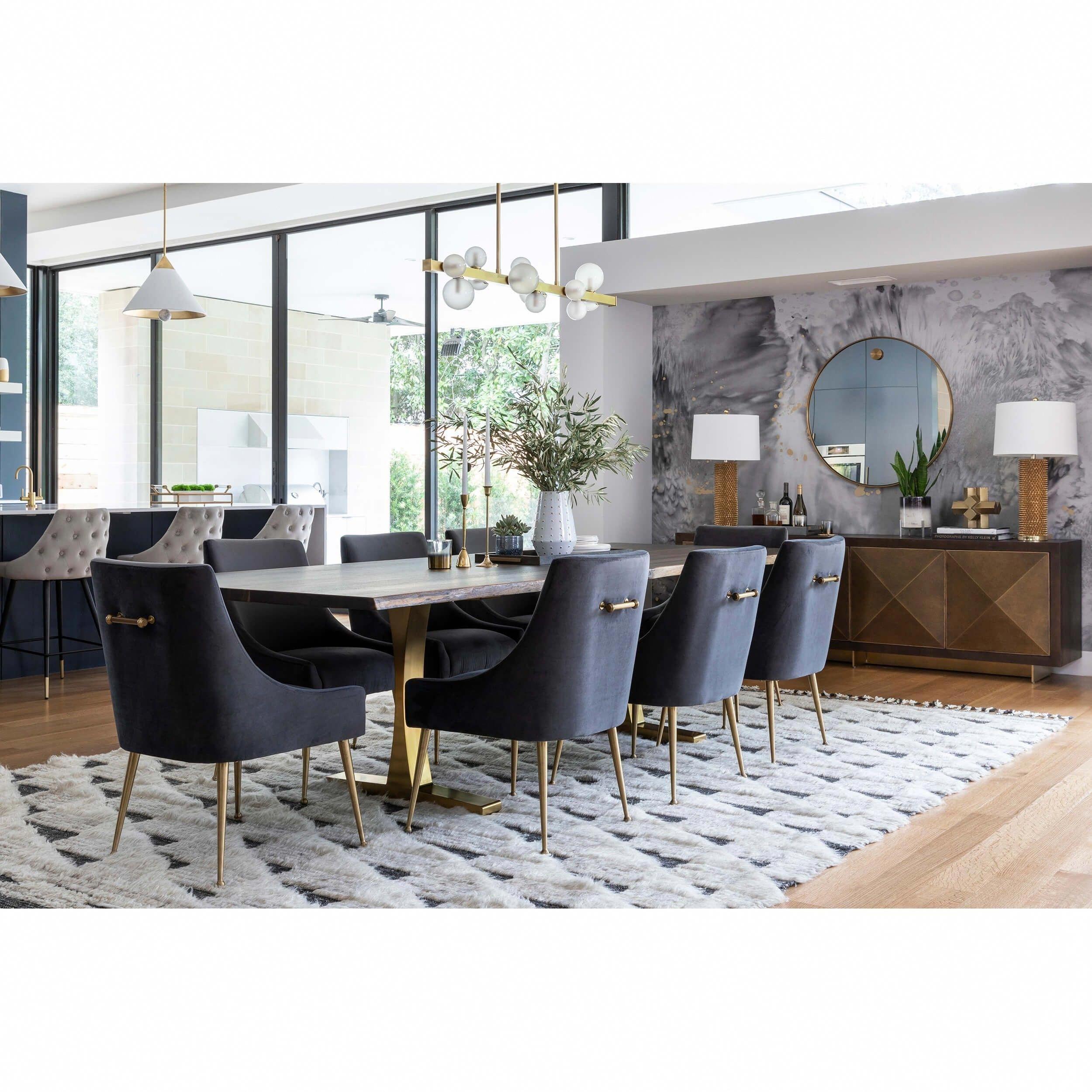 Beatrix Side Chair, Dark Grey/Brushed Gold Base